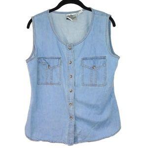 Strike A Pose Denim Jean Vest Button Size Large